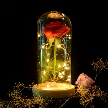 New Beauty and the Beast Red Rose in Glass Dome Wooden Base With LED Light Valentine's Day Gift Decoration
