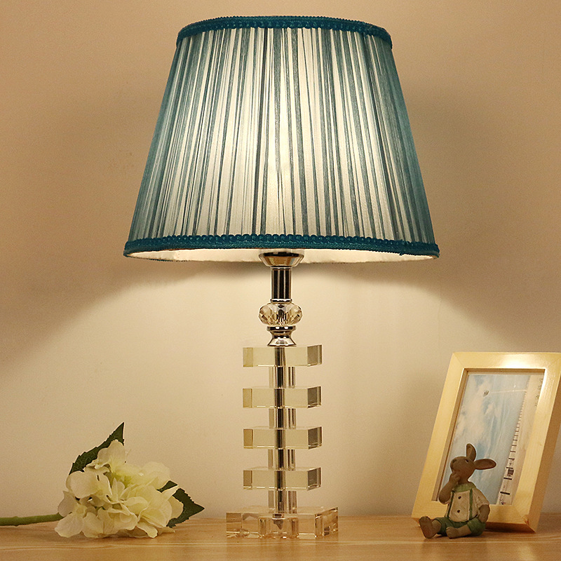 Tuda Free Shipping K9 Crystal Square Shade Table Lamp Blue Cloth