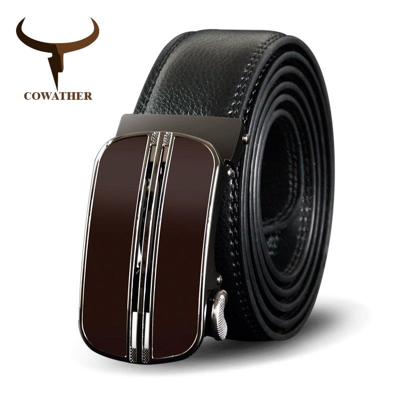 COWATHER   Belt   For Men Cow Genuine Leather Men   Belt   New Arrival Brown Automatic Buckle Male Strap Top Quality Cowhide Male   Belts