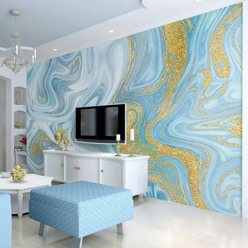 Custom 3D Wallpaper Sprinkled Gold Blue Texture Fashion ...