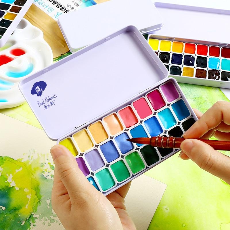 Rubens acuarela pigmento sólido 24 colores caramelo Color Base portátil estudiante profesional pinturas arte suministros 10 colores forma cuadrada mosaico de vidrio azulejo brillo monocromo para arte suministros para manualidades regalo decoración del hogar paquete en caja