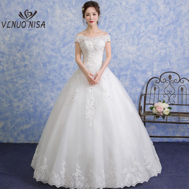 US $87.38 15% OFF|Plus Sizes Wedding gowns korean Style Boat Neck Lace  Wedding Dress 2018 New Arrival Crystal Off The Shoulder Vestido De Noiva-in  ...