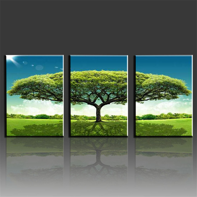 3 pieces wall decor big green tree canvas printing canvas prints for home picture painting art