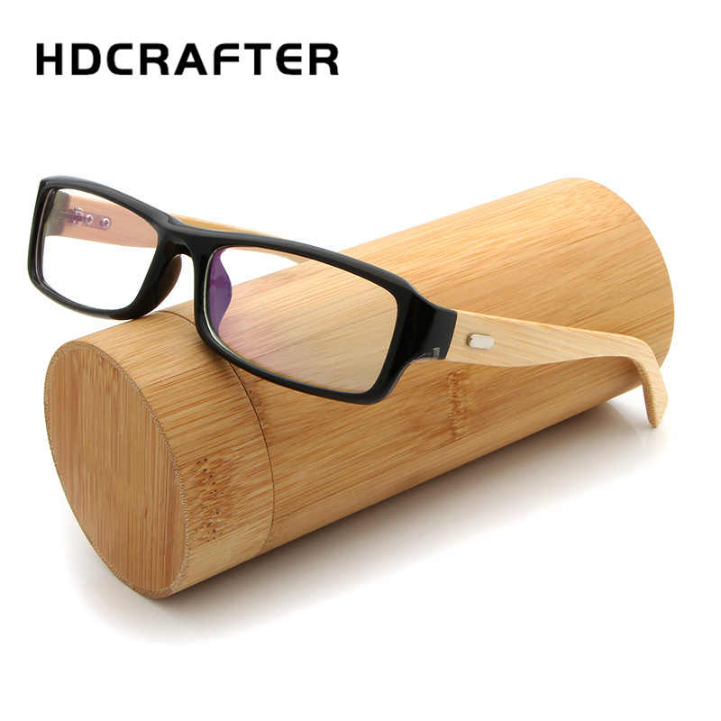 3f7655b21b HDCRAFTER Vintage Eyeglasses Frames Square Bamboo Legs Glasses Frame Men  Women Wooden Optical Glasses Frames With
