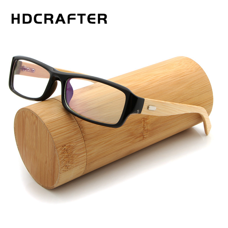 HDCRAFTER Vintage Eyeglasses Frames Square Bamboo Legs Glasses Frame Men Women Wooden Optical Glasses Frames With Clear Lens