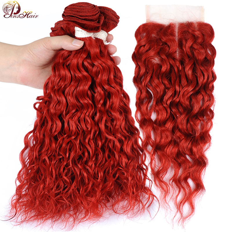 Peruvian Hair Red Water Wave Bundles With Closure Burgundy Colored 3 Bundles With Closure Pinshair 100 Human Hair Bundle Nonremy