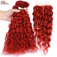 Peruvian Hair Red Water Wave Bundles With Closure Burgundy Colored 3 Bundles With Closure Pinshair 100 Human Hair Bundle Nonremy(China)