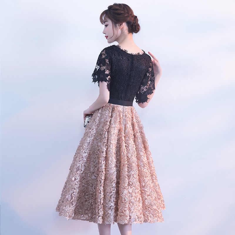 Черное китайское Восточное короткое Cheongsam элегантное вечернее платье платья принцессы современное Qipao свадебное летнее женское сексуальное платье с вышивкой