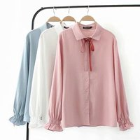 2019 Spring New Summer Women Long Solid Cotton Shirt Oversize Big Plus Size Ladies Long Sleeve Puff Sleeve Shirts