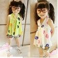 Meninas vestido de verão camisetas crianças de algodão crianças flores bonito camisa criança moda de roupas YF-229