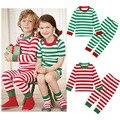 Дети Рождество Пижамы Устанавливает Детские Малыш Мальчики Девочки Пижамы Зеленый Полосатый Рождество Пижамы Установить хлопок Пижамы Детские Наборы Одежды