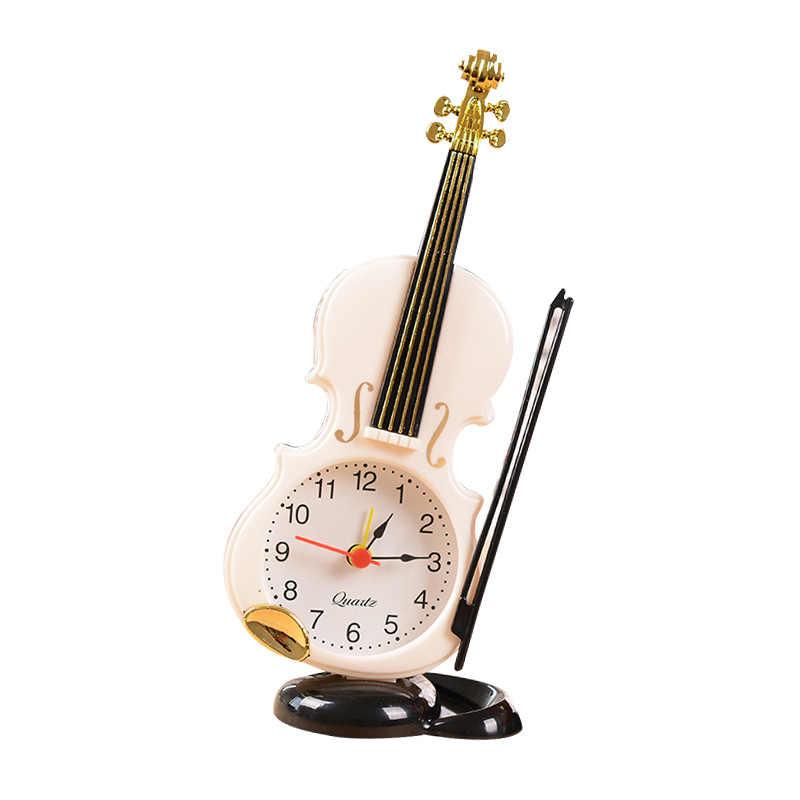 New Arrival Vintage unikalny skrzypce starożytnych biurko PO zegar budzik materiały biurowe wystrój domu Handmade rzemiosło prezent dla dzieci