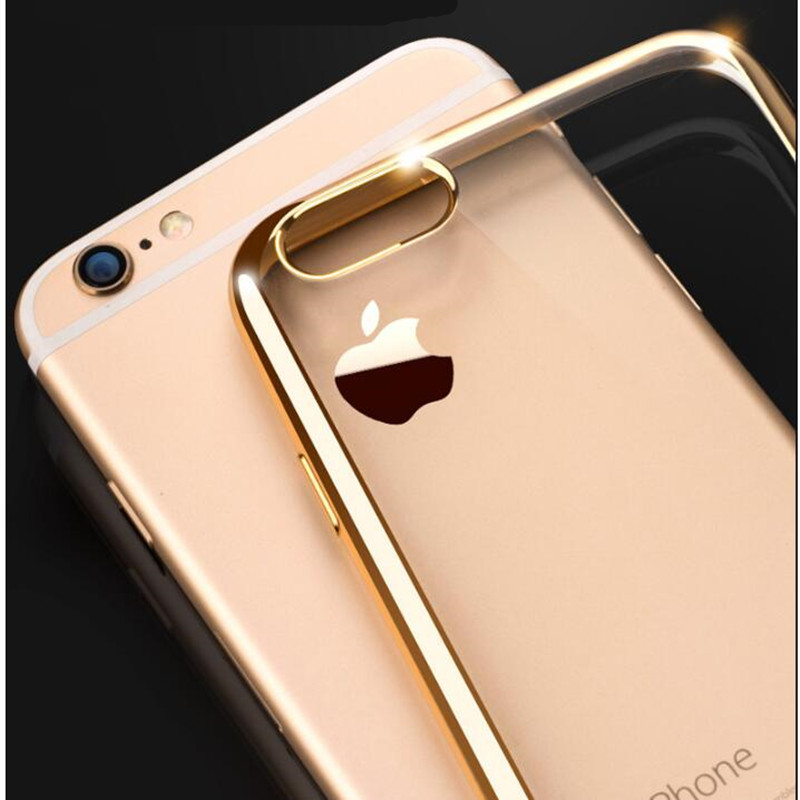 Fashion Rose gold Luxury Plating Case For iPhone 7 6 6S Plus 5s SE Soft Clear TPU Cover For iPhone 6 7 plus 6S 5S 8 PLUS x Case