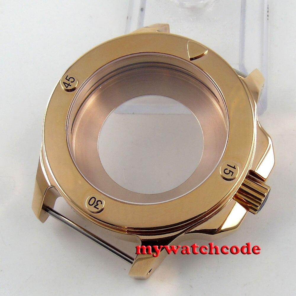 47mm parnis plaqué or saphir poli cristal 316L boîte en acier inoxydable C80