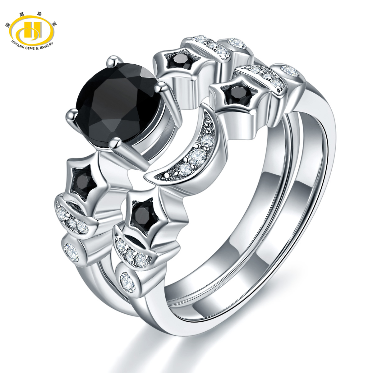 Hutang Double Ring Natural Black Spinel Solid 925 Sterling Silver Ring Sets for Women Wedding Best Gift 2017 New Arrival