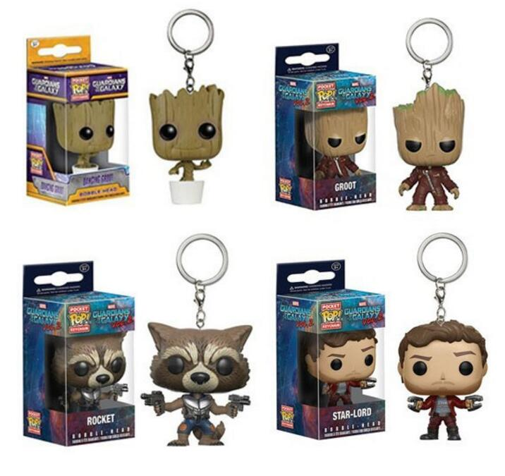 Popular Funko Pop Keychain Toy Guardians Of the Galaxy Dancing Groot Figma Anime Vinyl Potted Bobble Head Tree Man Juguetes Toy new funko pop guardians of the galaxy tree people groot