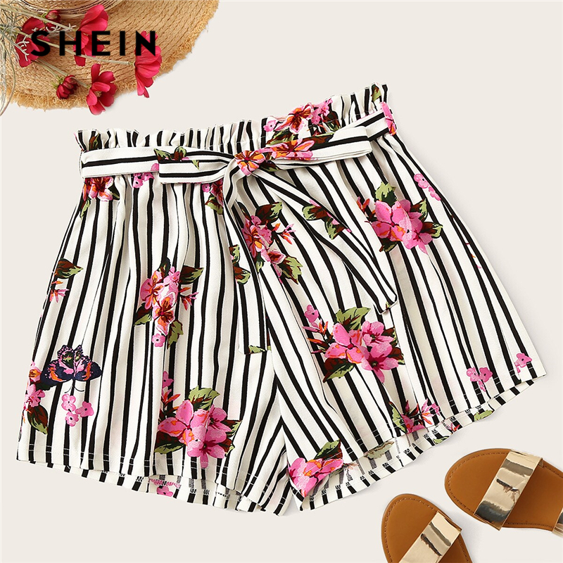 SHEIN Plus Size Black And White Paperbag Waist Floral Striped Shorts 2019 Women Summer Boho Wide Leg Plus Shorts With Belt