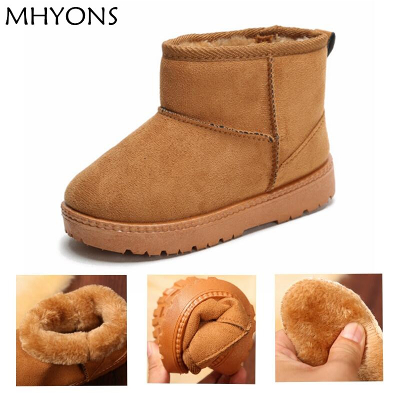 MHYONS Kids Baby Toddler Shoes Child Winter Warm Snow Boots Shoes Plush  Thicker Sole Boys Girls Snow Boots Shoes Big Size 22-33 12d98593a