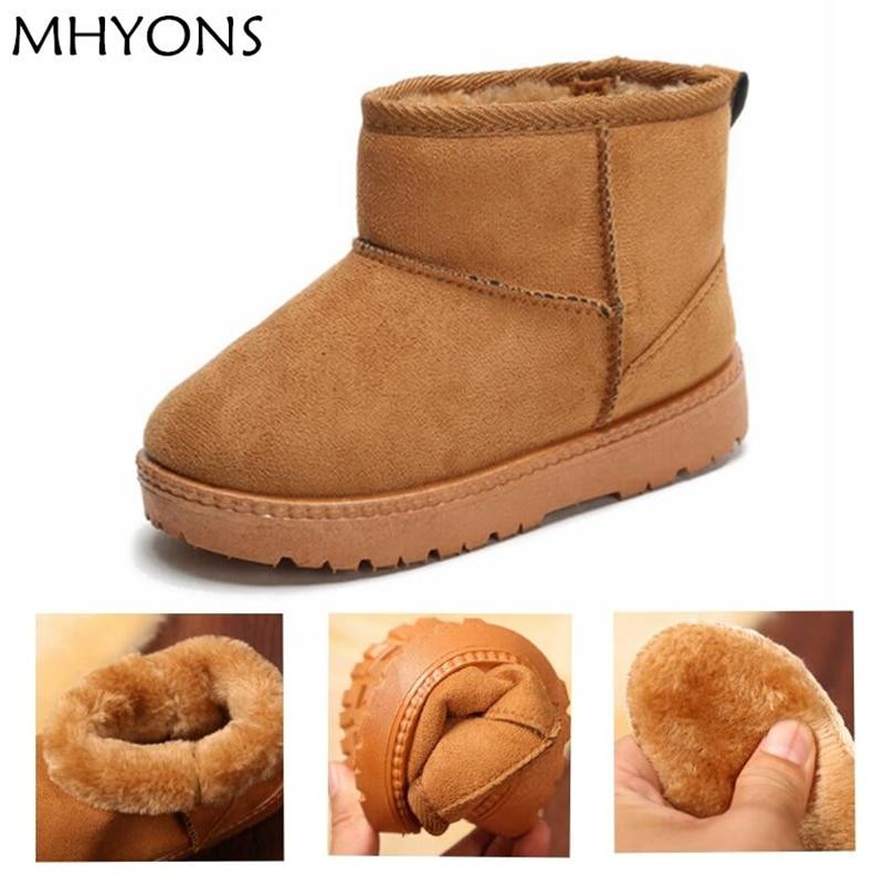 MHYONS Kinder Baby Kleinkind Schuhe Kind Winter Warm Schnee Stiefel Schuhe Plüsch Dicker Sohle Jungen Mädchen Schnee Stiefel Schuhe Große größe 22-33