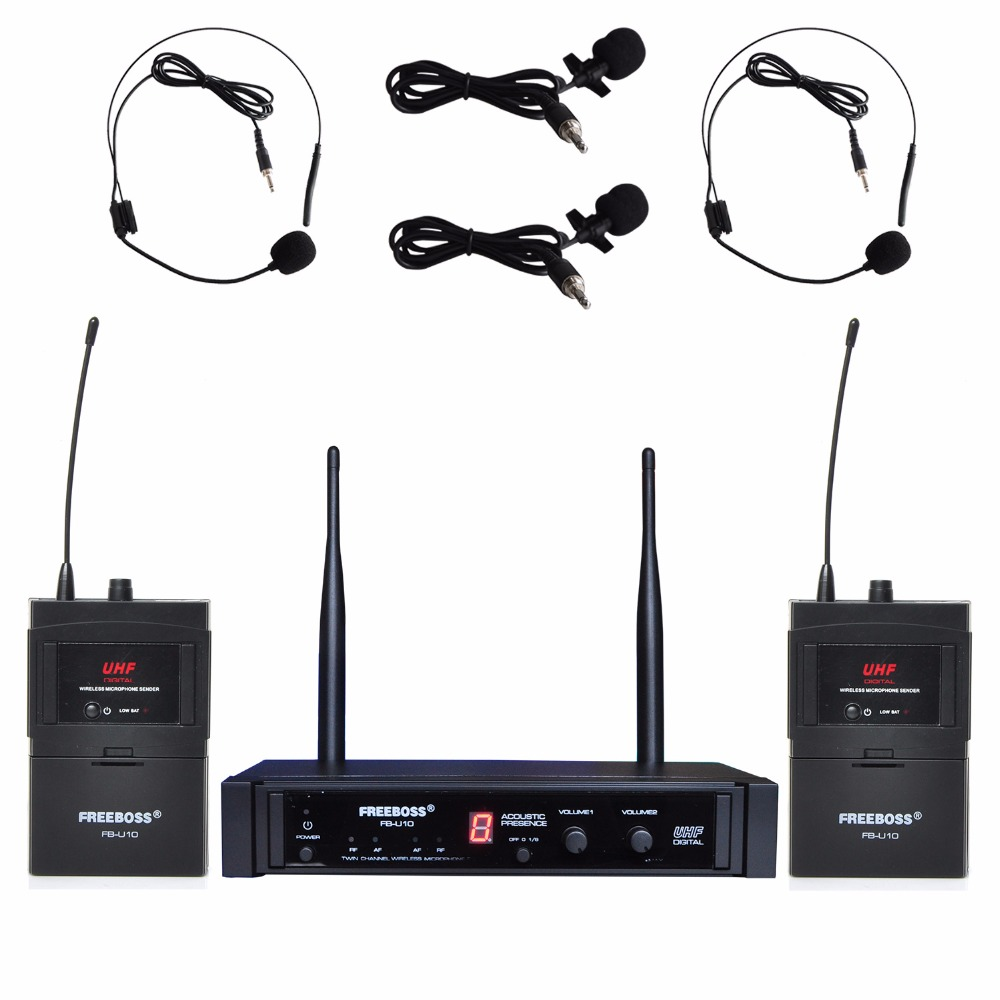 Freeboss FB-U10H2 Dual Way Digital UHF Wireless Microphone with 2 Lapel 2 Headset microphone (2 Bodypack Transmitter) технопарк машина технопарк nfrcb