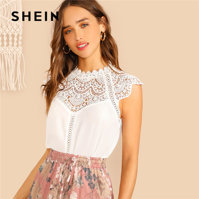 SHEIN Keyhole Back Guipure Lace Mock-Neck Women Blouse Ladies Tops Summer Casual Sleeveless Stand Collar Solid Blouse