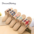 DreamShining Lovers Sandals Summer Small Broken Flower Flax Straw Mat Slippers Occupy Home Woman&Man Shoes