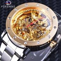 Forsining 2018 Royal Luxury Golden Skeleton Wristwatches Men Mechanical Watch Top Brand Luxury Silver Steel Openwork