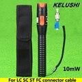 KELUSHI 10 mW Localizador Visual da Falha da Fibra óptica cable Tester com FC plástico Adaptador Macho para Fêmea LC Para LC/SC/ST/FC Conector