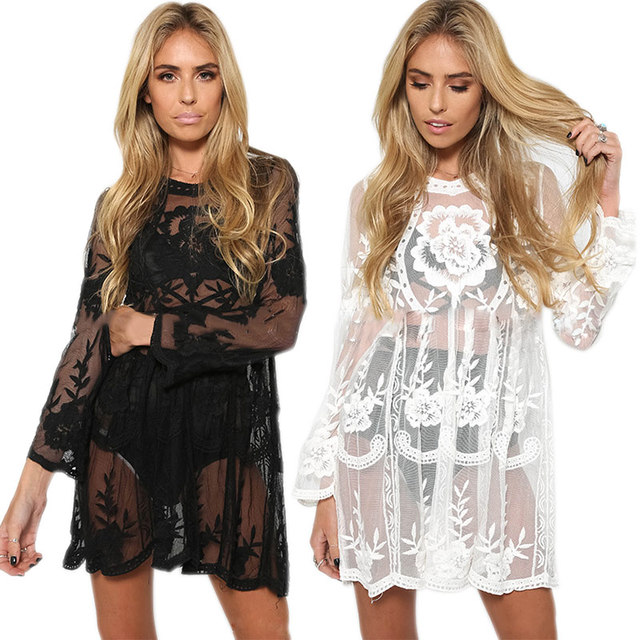 Y Women Summer Dress Long Sleeve O Neck Lace Dresses Beach Club