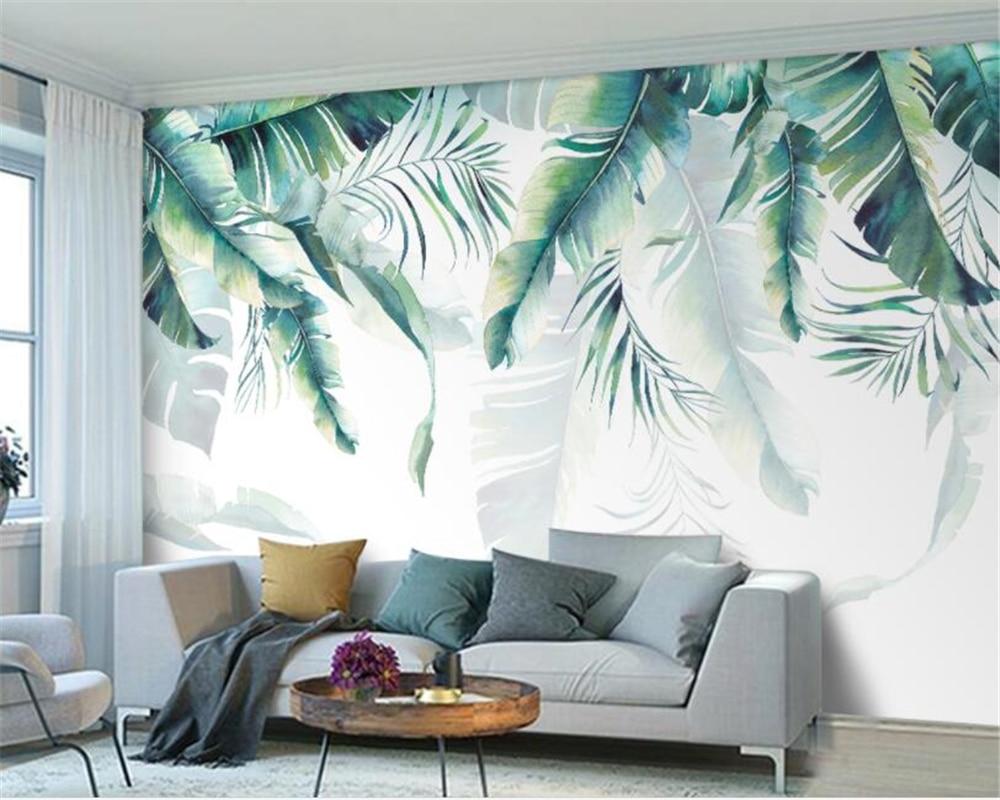 Beibehang Custom Photo Wallpaper Retro Tropical Rain Forest Palm Banana Leaves Wall Mural Cafe Restaurant Backdrop 3d Wallpaper