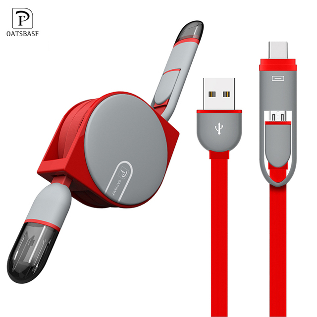Micro USB Cable for Samsung 2 in 1 1M USB Type C Cable Fast Charger Data  USB C Cable for Xiaomi 4C Nexus 5X 6P Android Phone-in Mobile Phone Cables