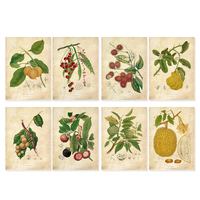 Vintage Green Leaves Fruits Watercolor Style Art Prints 8 In 1 Botanical Wall Art Plant Decor