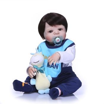 Nicery 22inch 55cm Bebe Reborn Doll Hard Silicone Boy Girl Toy Reborn Baby Doll Gift for Child Blue Bib Clothes Doll