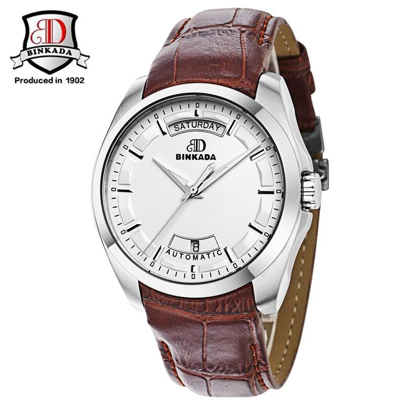 ФОТО 2017 New BINKADA Men's Watch Leather Strap Chronograph Automatic Watches Men Mechanical Man Wristwatch Relogios Masculino