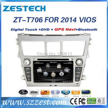 ZESTECH High performance dual-core HD digital touch screen silver car dvd for Toyota VIOS 2014 car dvd with radio/RDS/3G