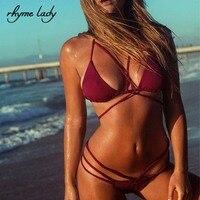 Rhyme Lady 2017 Bikinis Set Women Halter Spaghetti Strap Bathing Suit Bandage Style Swimwear Tong Bottom