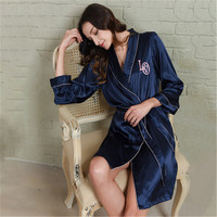 weiqiya 2018 Spring Summer Autumn Women Chinese Satin Silk Robe Female Classical Bathrobe Lady Nightdress Girl Pijama Sleepwear