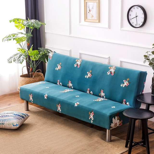 Us 23 99 25 Off Aliexpress Fl Print Armless Sofa Cover Polyester Spandex Fabric Stretch Slipcovers Seater Couch Protector Folding