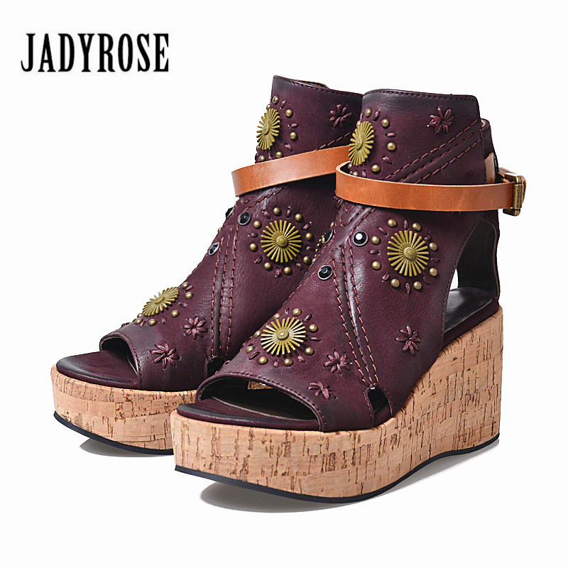 Jady Rose Purple Wedges Shoes for Women Peep Toe Summer Boots Gladiator Sandals Wedge Shoes Woman Platform Sandal Wedges choudory bohemia women genuine leather summer sandals casual platform wedge shoes woman fringed gladiator sandal creepers wedges