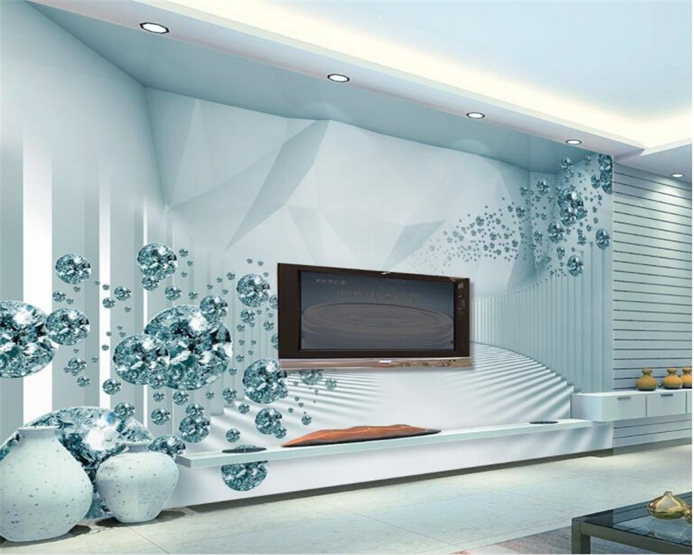 wall paper 3d stereo space sense of modern fashion crystal ball TV wall wallpaper home decor papier peint mural 3d Beibehang