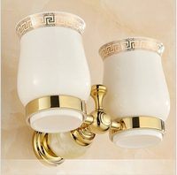 European Style Double Cup Holder Toothbrush Holder With Ceramic Cups Gold Brass Solid Brass Rack Tumbler