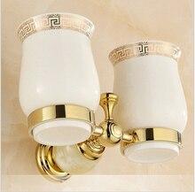 Европейский стиль дважды обладатель кубка зубных щеток с керамические чашки золото латунь твердой латуни стойки стакан держатель настенный