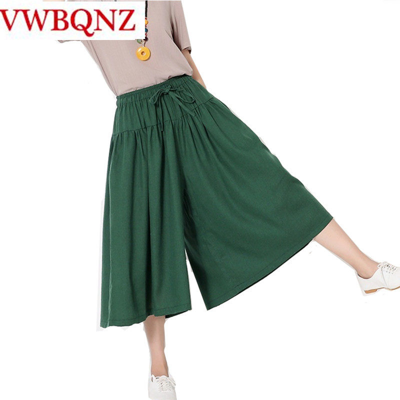 Hot 2018 New Spring Summer Cotton linen Women Trousers Fashion National wind Lady   Wide     leg     pants   Casual Solid Loose Skirt   Pants