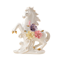 pink pinch flower ceramic horse crafts ornaments home decoration handicrafts animal lucky horse furnishings home decorations