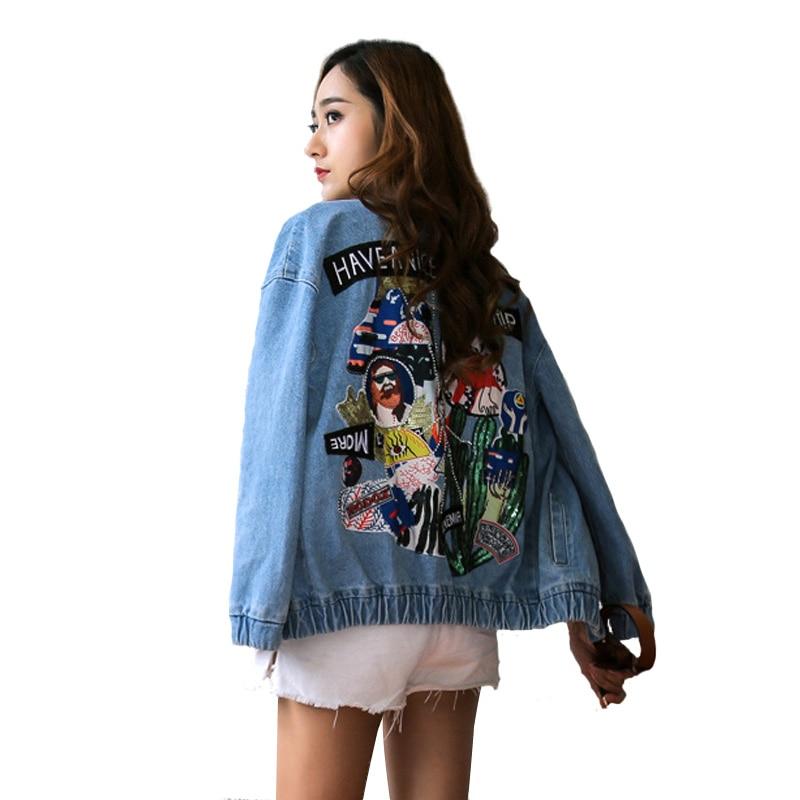 Joli Outwear Blue Manteau 2017 Automne Voyage Femmes Femelle Veste Lâche Bomber Paillettes Chic Marque Denim Patch De Broderie Vintage Mode 7URCq