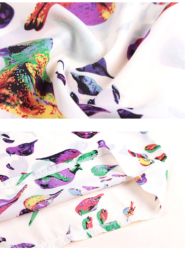 Bird Chiffon Print Blouse 19
