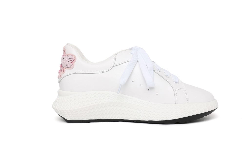 2019 cow leather butterfly brand Spring shoes lace up round toe sneaker wedge casual platform pearl women vulcanized shoes L05
