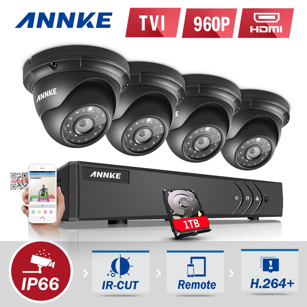 ANNKE 4CH HD-TVI 1080P Lite CCTV Security System DVR and (4) 960P Outdoor Fixed Weatherproof Video Surveillance Cameras 1TB HDD