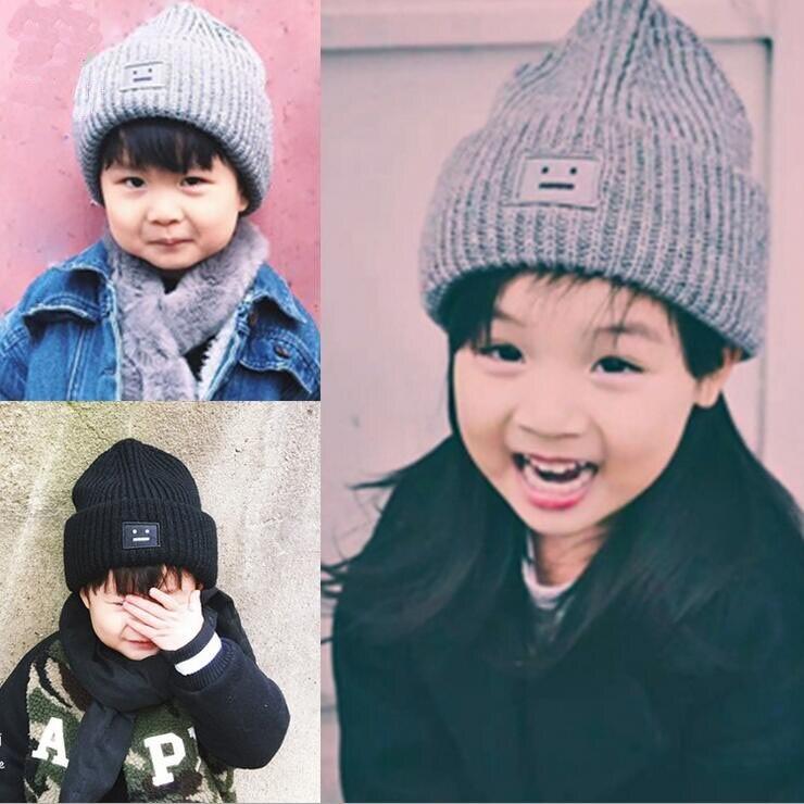 3b740b68b57 5 pcs lot enfants chapeau chapeaux mode hiver automne garçon cap fille à  tricoter laine calotte glaciaire chaud robot sourire visage skullies bonnets