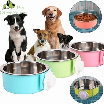 ULTRASOUND HUISDIER Dual Gebruik Hond Kom Huisdier Kat Kooi Opknoping Dubbele Kommen Voor Puppy Cat Automatische Water Drinken/Voedsel voeden Schotel